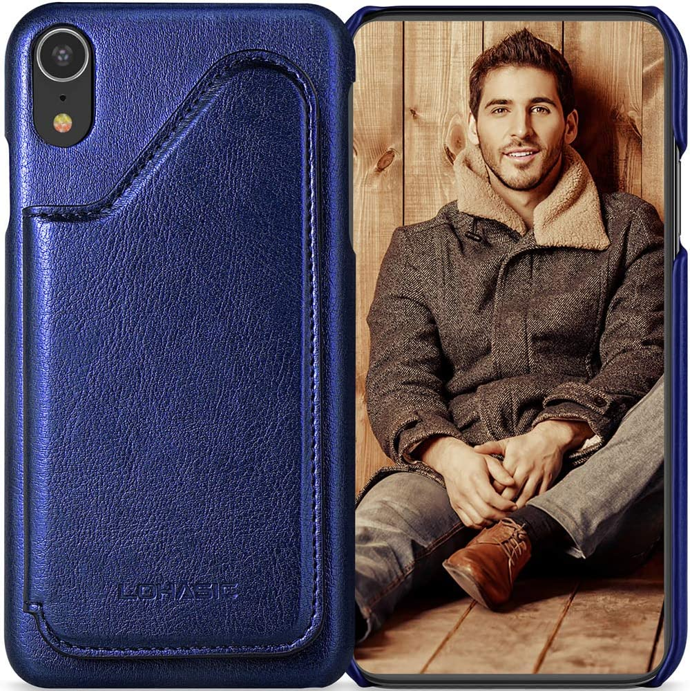 LOHASIC for iPhone XR Wallet Case Men, 5 Card Holder Phone Cover Women, Leather Stand Magnet Folio Portfolio, Classic Business Flip Pocket Compatible with iPhone XR (2018) 6.1 Shiny Blue