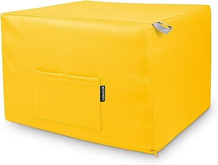HAPPERS Puff Amarillo Convertible en Cama cómoda con Funda de Polipiel incluida, Futón con Cama colchon, colchoneta Convertible en Puff o cómodo ...