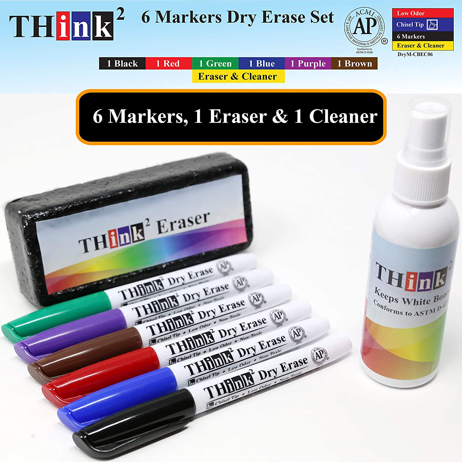 [6 Color Dry Erase Markers] Think2 Chisel Tip Markers with Eraser & Cleaner Set. (1 Black, 1 Red, 1 Blue, 1 Green, 1 Purple, 1 Brown) AP Certified German Ink. For Kids, Classroom, Office, Home : Office Products