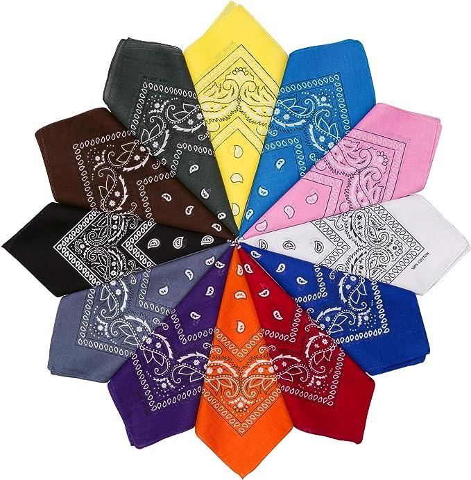 HBselect 12 Piezas Unisex Bandana Cabeza Hombre Algodon 54 * 54 CM Pañuelos Cuello Mujer Multicolor Pañuelos Hombre Cuello Pañuelo Deportivo: Amazon.es: Ropa y accesorios