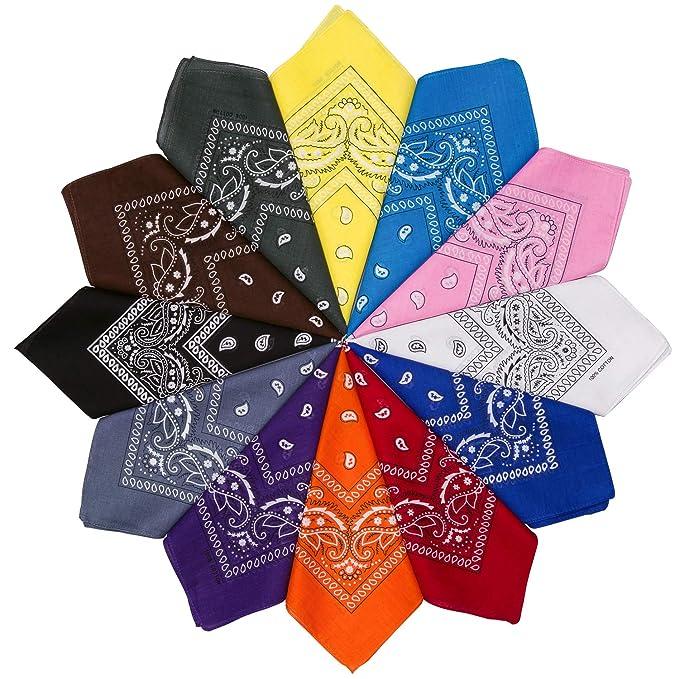 70f3ae05f HBselect 12 Piezas Unisex Bandana Cabeza Hombre Algodon 54 * 54 CM Pañuelos  Cuello Mujer Multicolor Pañuelos Hombre Cuello Pañuelo Deportivo:  Amazon.es: ...