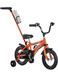 Schwinn Petunia and Grit Steerable Kids Bikes, Featuring Push Handle for Easy Steering, Training Wheels, Enclosed Chain...