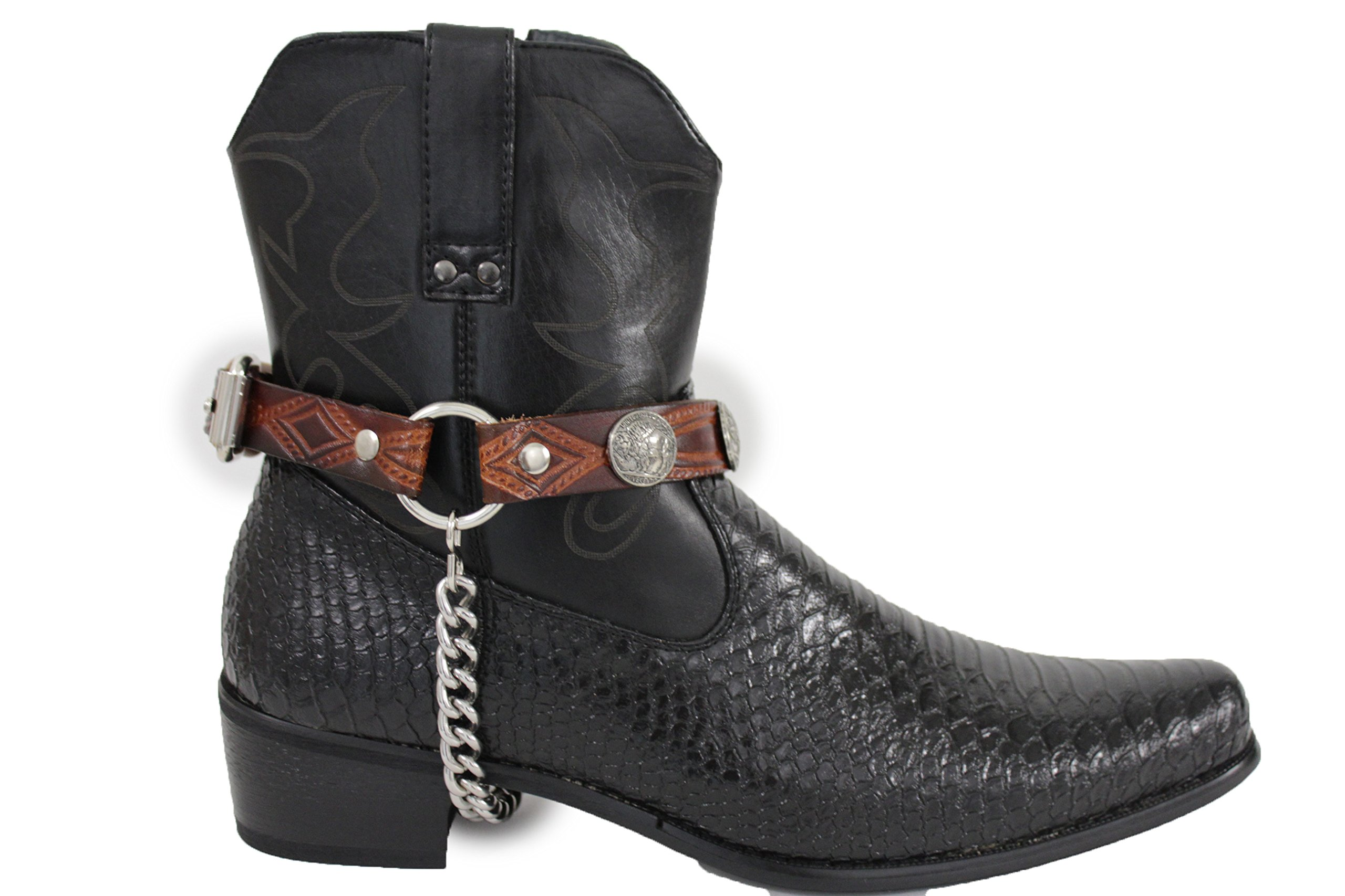 TFJ Men Biker Jewelry Boot Bracelets Brown Leather Straps Silver Metal Chains Bull Buffalo Pair Detail
