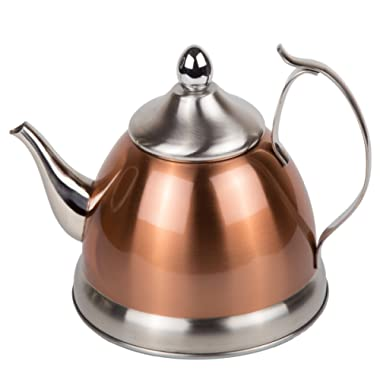 Creative Home 77075 1.0 Qt. Nobili Stainless Steel, Copper Tea Kettle with Removable Infuser Basket