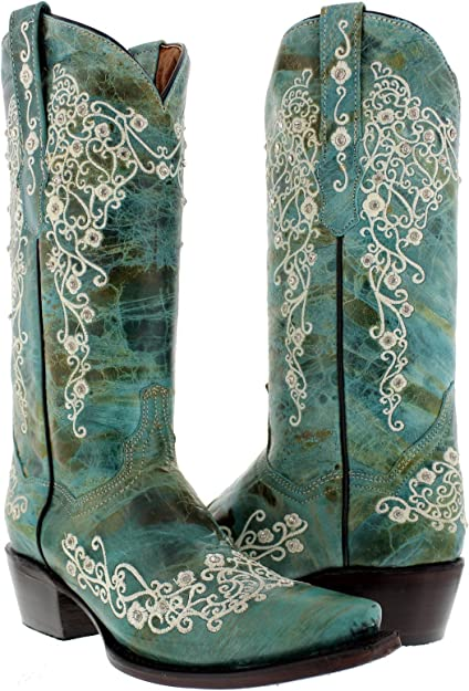 Womens Black Turquoise Flower Embroidered Leather Cowgirl Rodeo Snip Toe Boots