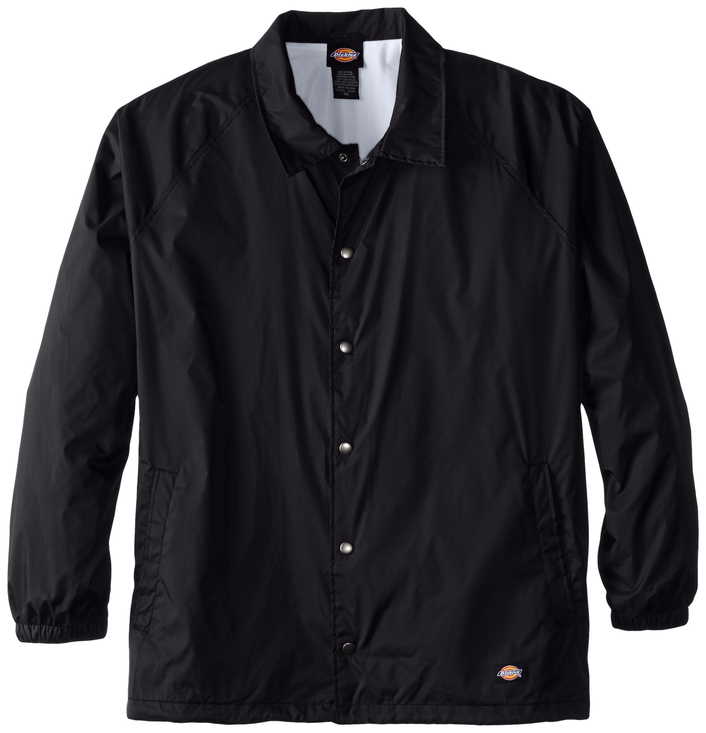 Dickies Men's Big Snap Front Nylon Jacket, Black, 5X by Dickies