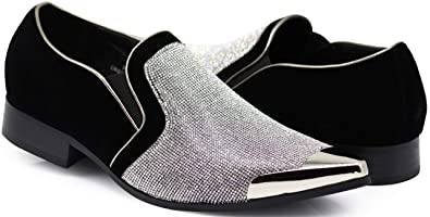 af8bfd4ab9 Crisiano Men Stage Fashion Sparkle Rhinestone Suede Metal Chrome Toe  Designer Dress Loafers Slip On Shoes