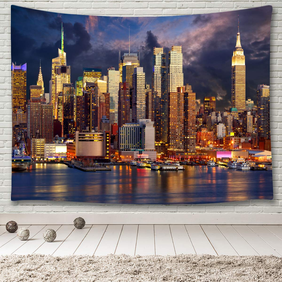 MINAKO Manhattan Skyline Tapestry Wall Hanging,New York Cityscape Panorama View NYC Urban Skyscrapers Harbor Buildings Architecture Reflection Over Hudson River Tapestries 90x60 Extra Large Size