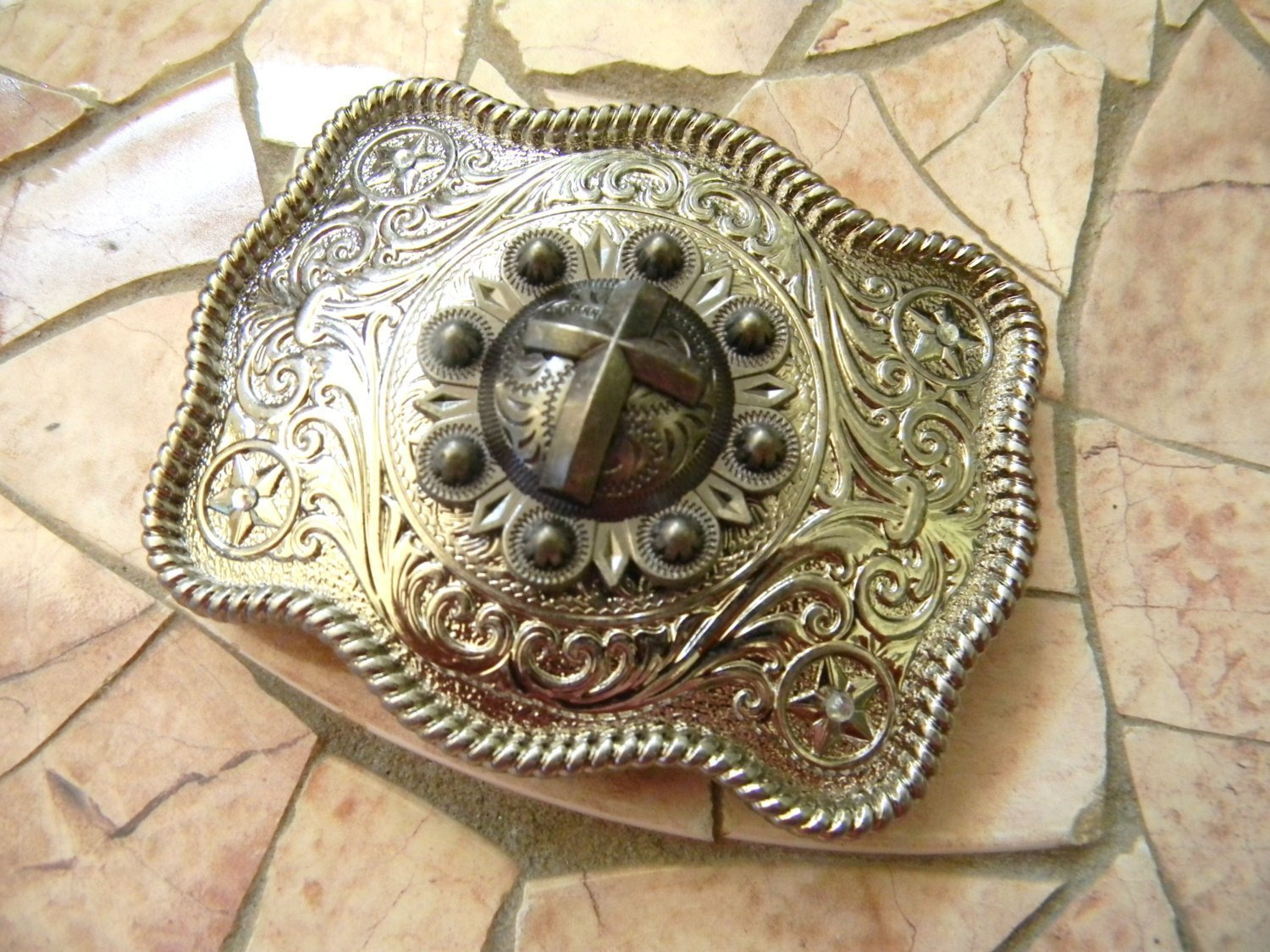 Silver Cross Belt Buckle, Womens Mens Kids Western Buckle, Custom Christian Baptism Confirmation