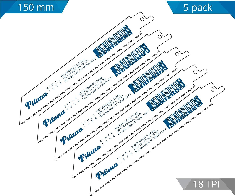 PILANA Bi-Metall S/äbels/ägebl/ätter S1-150AA-18-PT f/ür Metall 150mm 18 ZpZ 5 St/ück