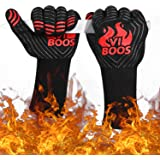 VIBOOS BBQ Grill Gloves, 1472℉ Extreme Heat Resistant Grilling Gloves for Cooking, Baking and for Smoker, Silicone Insulated Cooking Oven Mitts, 13 inch Long Non-Slip Potholder Gloves,1 Pair