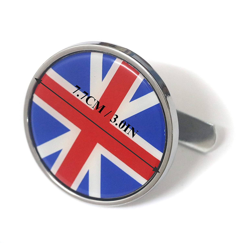 PT-Decors 4x 56.5mm Size England Flag Wheel Center Hub Caps Emblem Aluminum 3D Domed Sticker Black White UK Flag Graphic Decals Badge For Vehicle Motor Auto Car Wheel Center Hub Caps