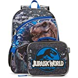 "Jurassic World Backpack with Lunch Tote Set 16"" School Bag Travel Backpack Full Size Zipper Compartments with Lunch Bag (SET)"