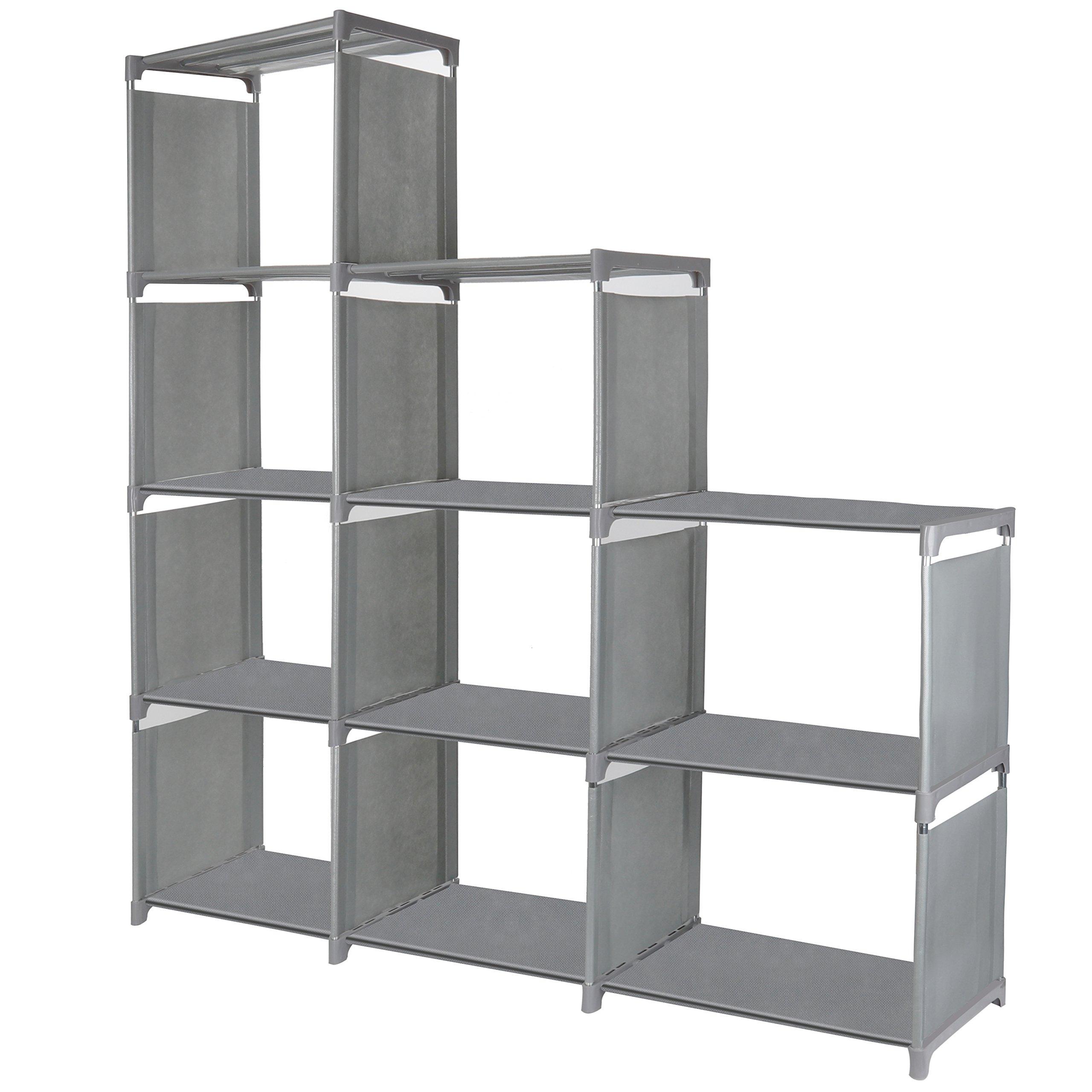 9 Cube Storage Shelves, SJHL DIY Modular Closet Organizer Unit and Bookshelf Cabinet for Clothes, Toys, Books and Shoes (Grey)