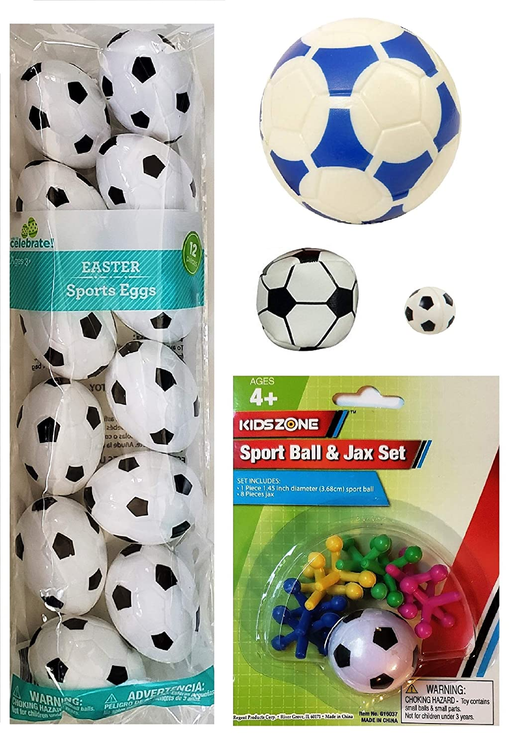and Mini Bounce Ball Hacky Sack Soccer Easter Basket Filler 5 Piece Bundle for Kids Ages 4+ |12 Plastic Easter Eggs Classic Ball /& Jacks Game Foam Soccer Ball