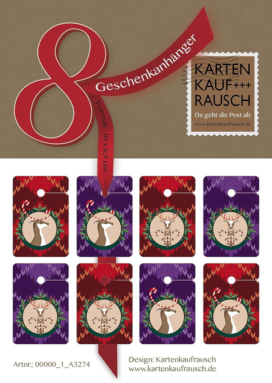 Designer Weihnachts Geschenk Anhänger   Papieranhänger     Geschenkkarten (64Stk) zu Weihnachten mit lustigen Hirschen auf Strickmuster B012OQP68I       Moderner Modus  3cb4dc