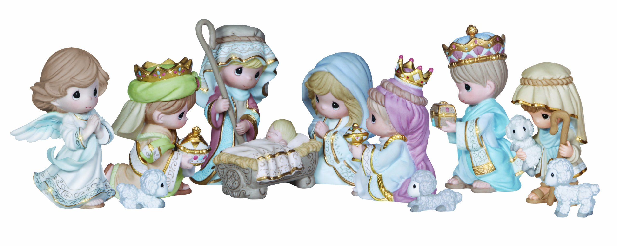 "Precious Moments, Christmas Gifts, ""Come Let Us Adore Him"", 11 Piece Set, Mini Bisque Porcelain Figurines, #131064 by Precious Moments"