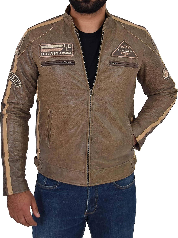 HOL Mens Biker Leather Jacket with Motorsport Badges Slim Fit Style Kurt Brown