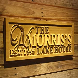 ADVPRO wpa0031 Name Personalized Lake House Last Name Home Décor Wedding Gift Wooden Sign - Standard 23