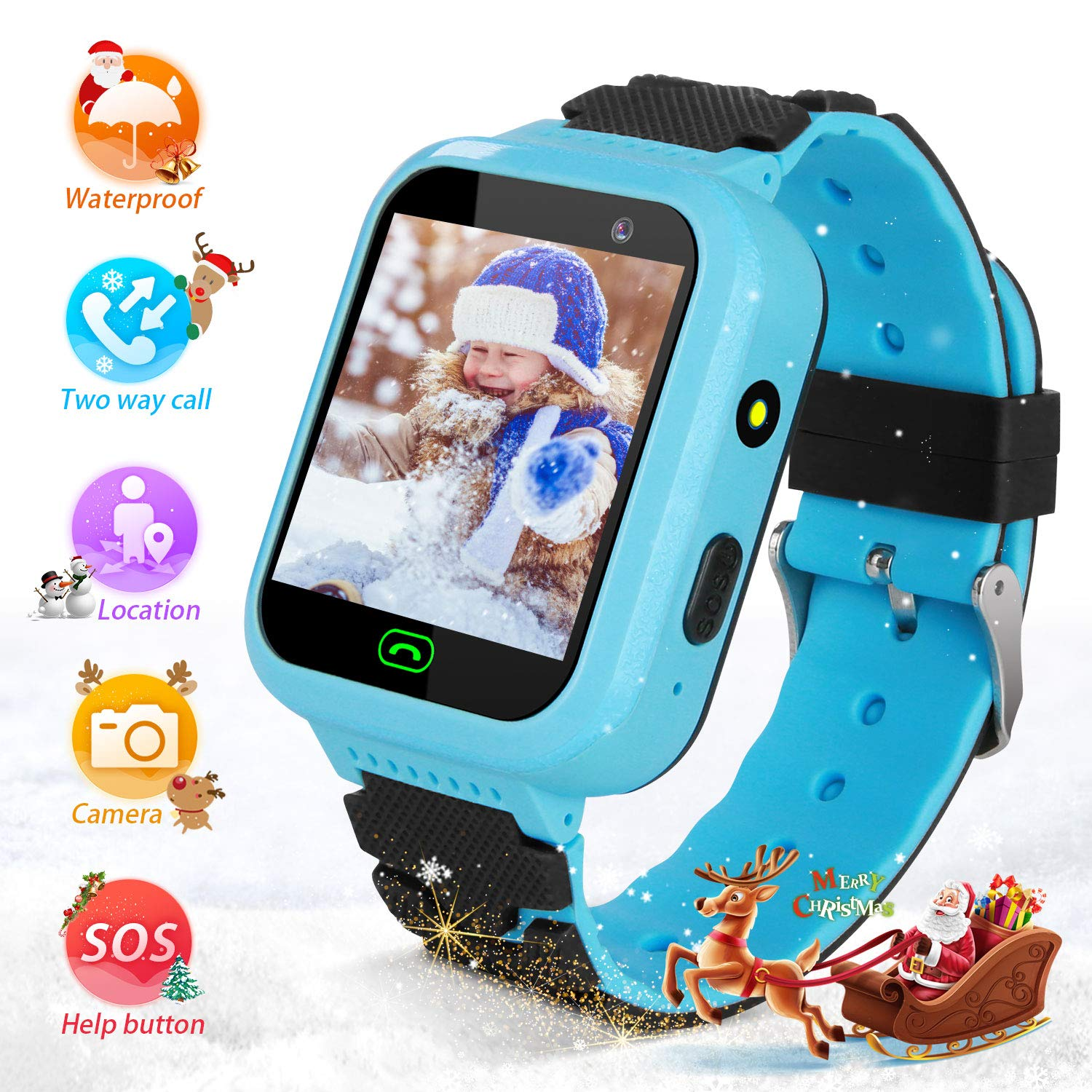 YENISEY Kids Smartwatch with GPS Tracker, Touchscreen Smartwatch with SOS Anti-Lost Remote Camera Flashlight Learning Game Watch Wrist Android Mobile ...