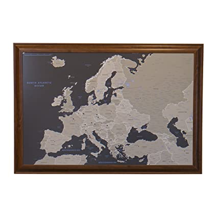 Amazon.com: Earth Toned Europe Push Pin Travel Map with Brown Frame ...