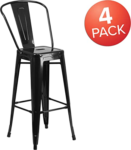 Flash Furniture Commercial Grade 4 Pack 30″ High Black Metal Indoor-Outdoor Barstool