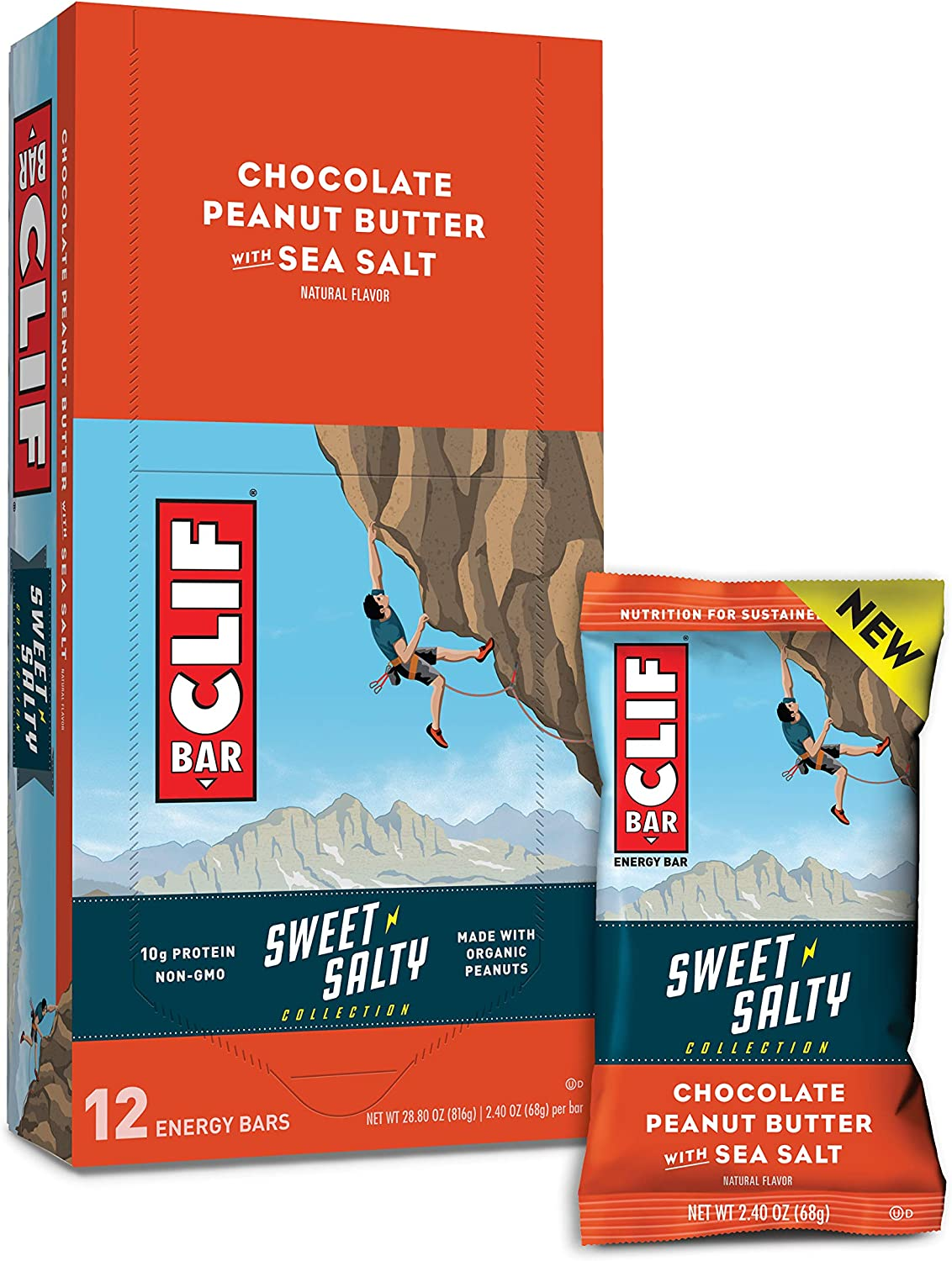 CLIF BARS - Sweet & Salty Energy Bars - Chocolate Peanut Butter - Made with Organic Oats - Plant Based Food - Vegetarian - Kosher (2.4 Ounce Protein Bars, 12 Count)