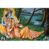 Friends Office Automation Radha Krishna Wall Colorful Sticker for Home Decor (9 x 12 Inch)