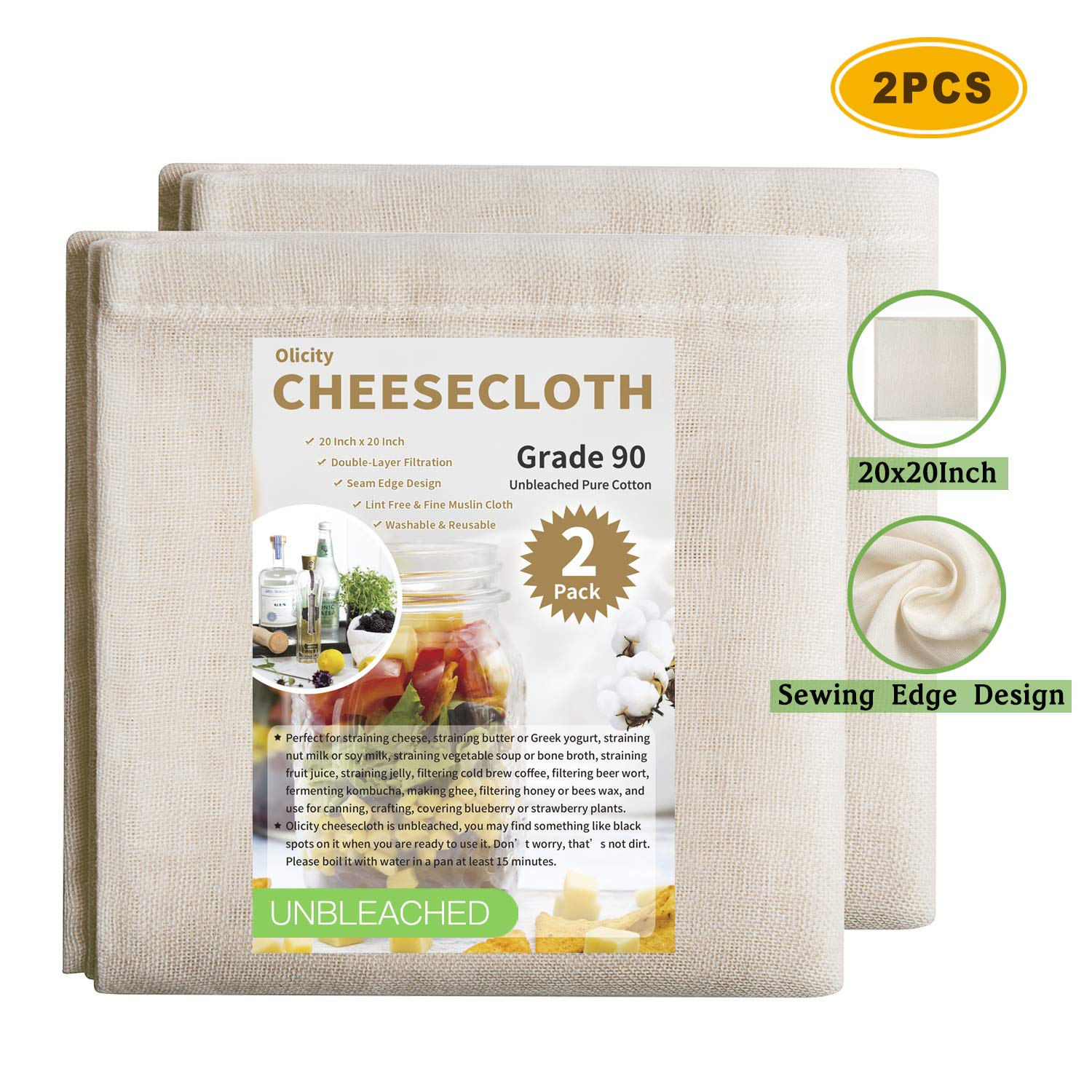 Olicity Cheesecloth, 20 x 20 Inch, Grade 90, 100% Unbleached Pure Cotton Muslin Cloth for Straining, Ultra Fine Reusable Cheese Cloth Fabric Filter Strainer for Cooking, Nut Milk Straining (2 Pieces)