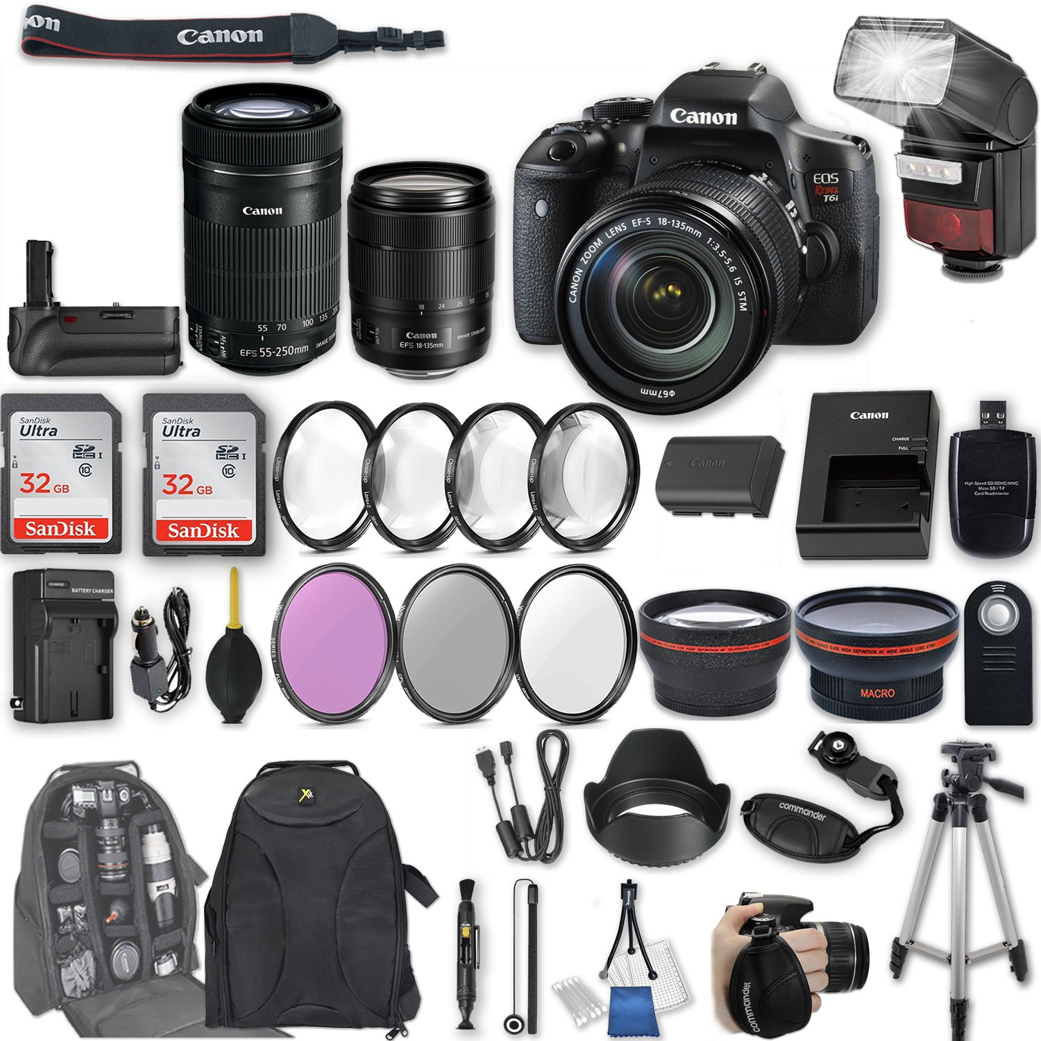 Canon EOS Rebel T6i DSLR Camera with EF-S 18-135mm f/3.5-5.6 IS STM Lens + EF-S 55-250mm f/4-5.6 IS STM Lens + 2Pcs 32GB Sandisk SD Memory + Automatic Flash + Battery Grip + Filter & Macro Kits + More by Canon
