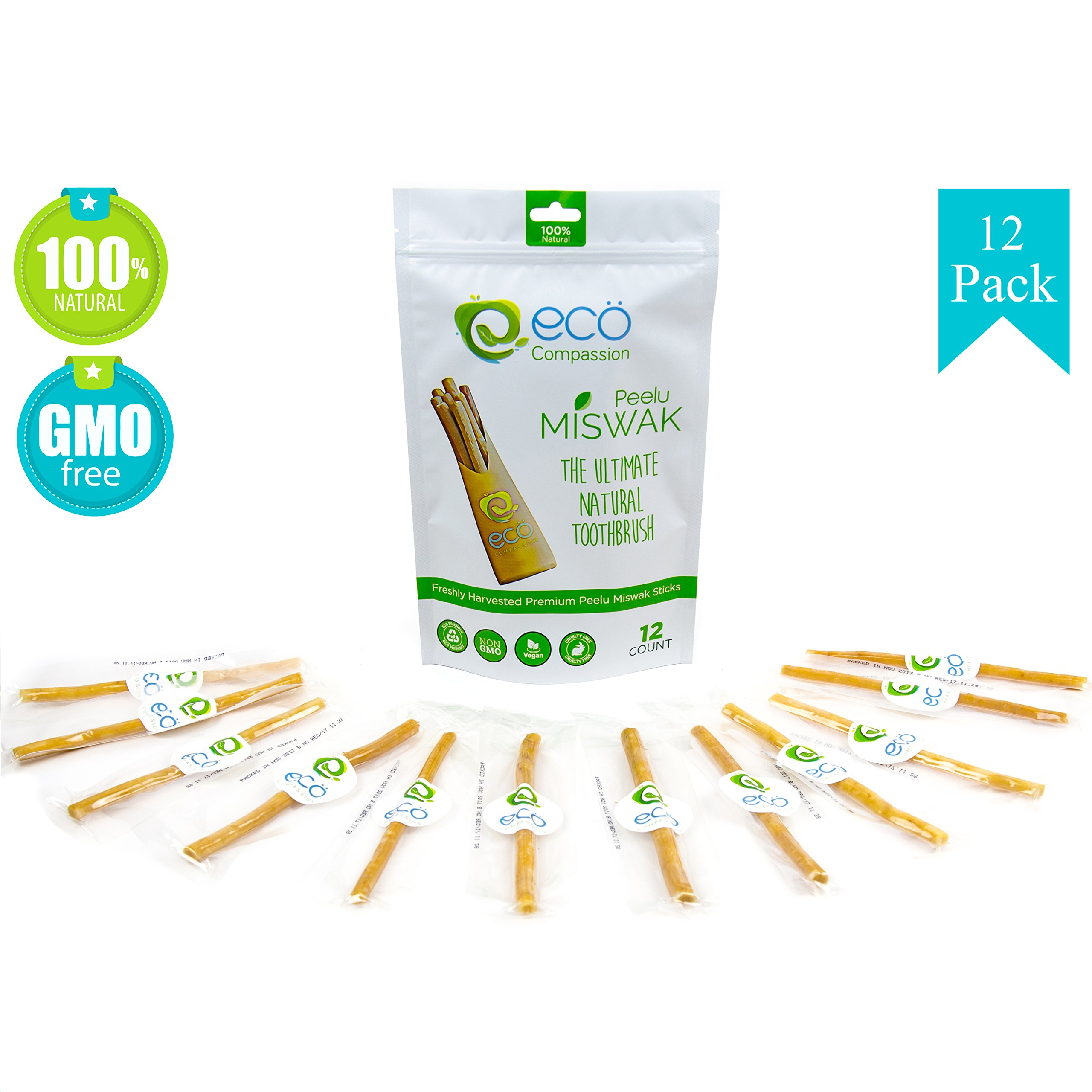 12 Miswak Sticks for Teeth by Eco Compassion   100% Natural Toothbrush   Eco Friendly Sewak Chewing Stick for Teeth Whitening   Whiter, Fresher Breath   A Healthy Manual Toothbrush