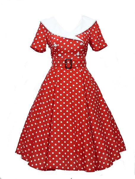 dress190 rojo & blanco lunares 50s Rockabilly fiesta Swing vestido de cóctel Vintage rojo rosso 44