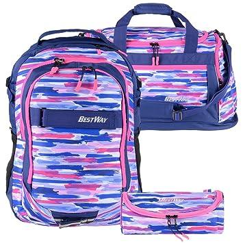 Bestway Schulrucksack Mädchen Jungs marineblau pink Schultasche Daypack