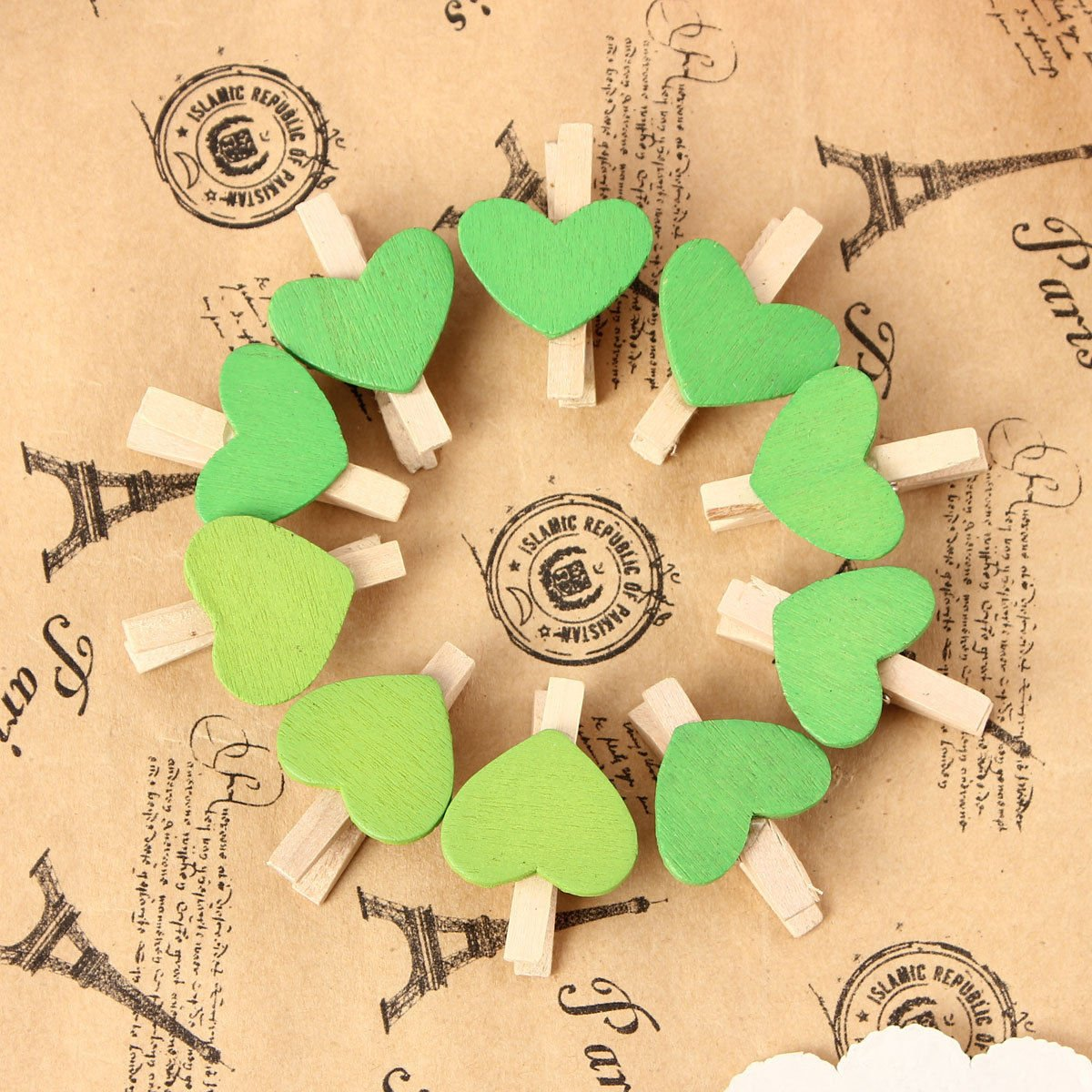 Creative Decor Craft 10Pcs Mini Wooden Heart Pegs Photo Paper Clips Wedding Decoration (Green)