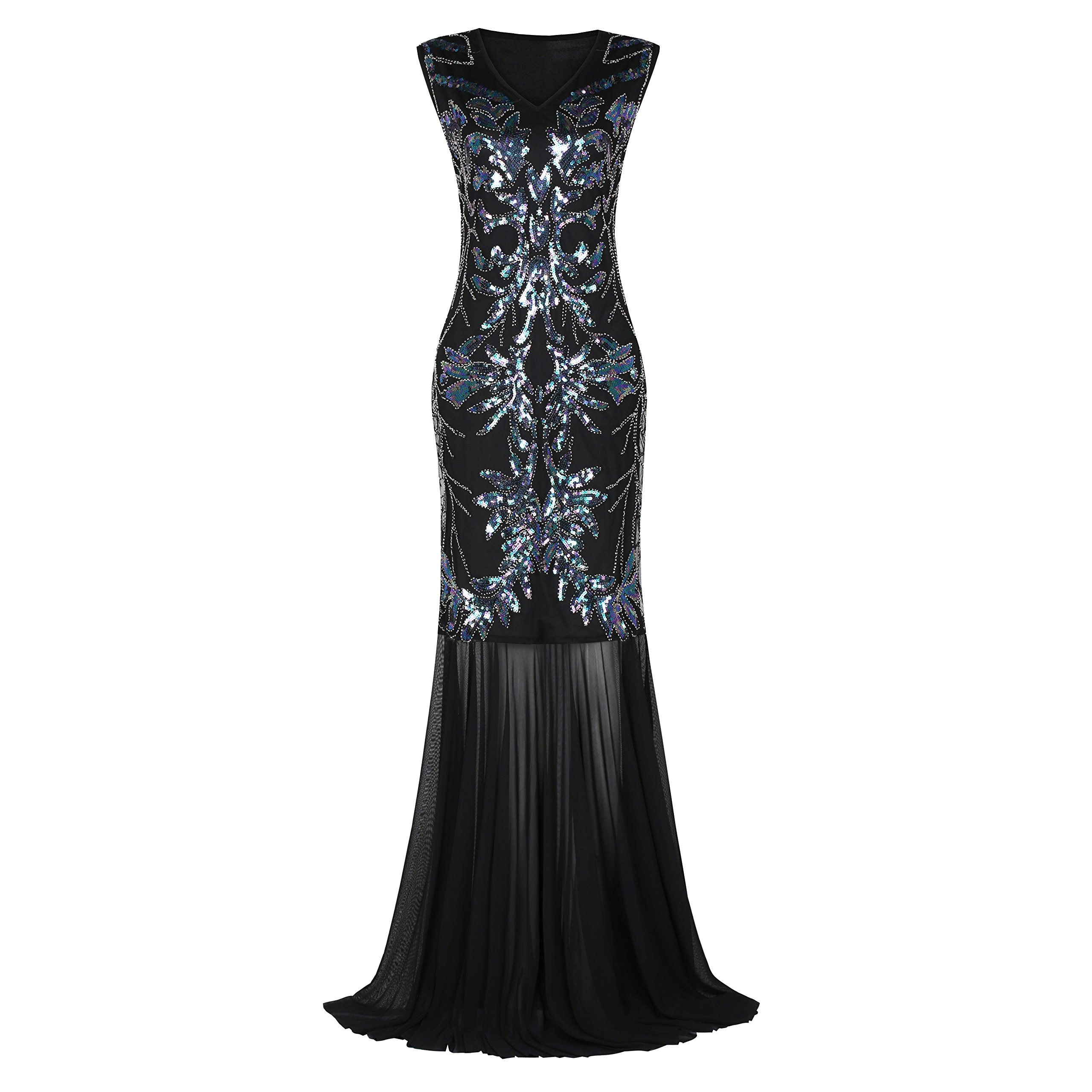 e6e565c43a U.mslady Women s Evening 1920s Ball Gown V Neck Beaded Sequined Flapper  Long Formal Prom Gatsby Maxi Dress Gold Prom Sliver 6
