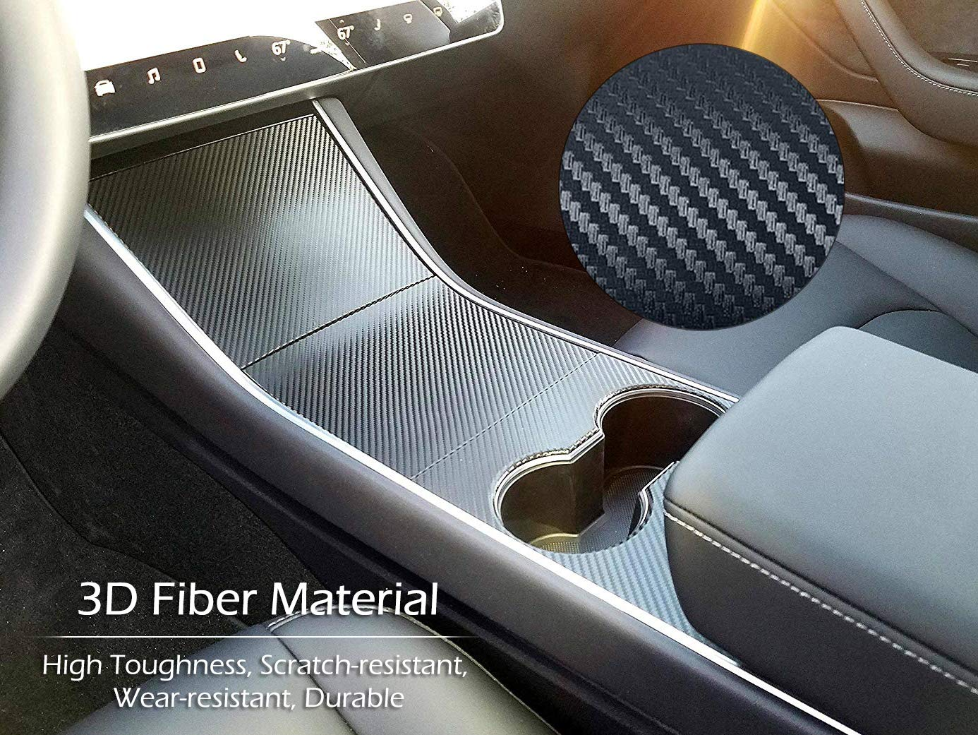 Carbon Fiber Vinyl Wrap Stickers with Air Realease Bubble Free Tesla Model 3 Car Interior Dashboard Wrap Kit Stickers