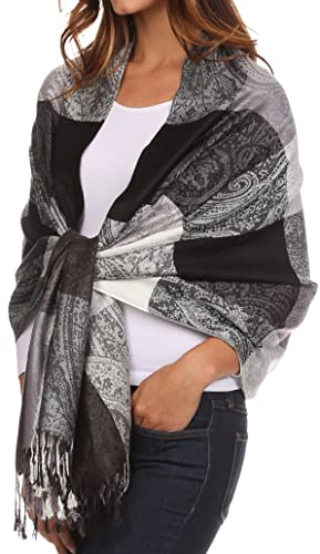 Pashmina/scialle/vestaglietta/stola colorata con motivo paisley Sakkas Avril