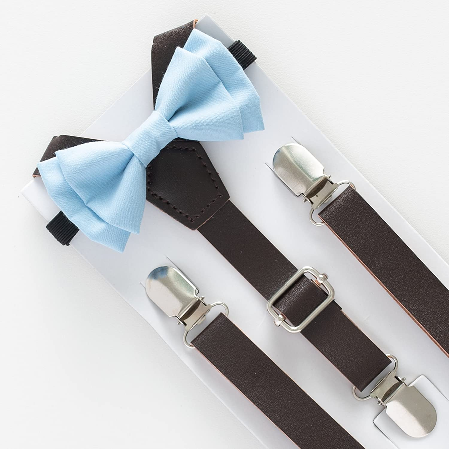 SUSPENDER & BOW TIE Set. Sweetnswag Dusty Blue Bow tie with Dark Brown Leather Suspenders. Infant - Adult. Photography prop, Weddings.