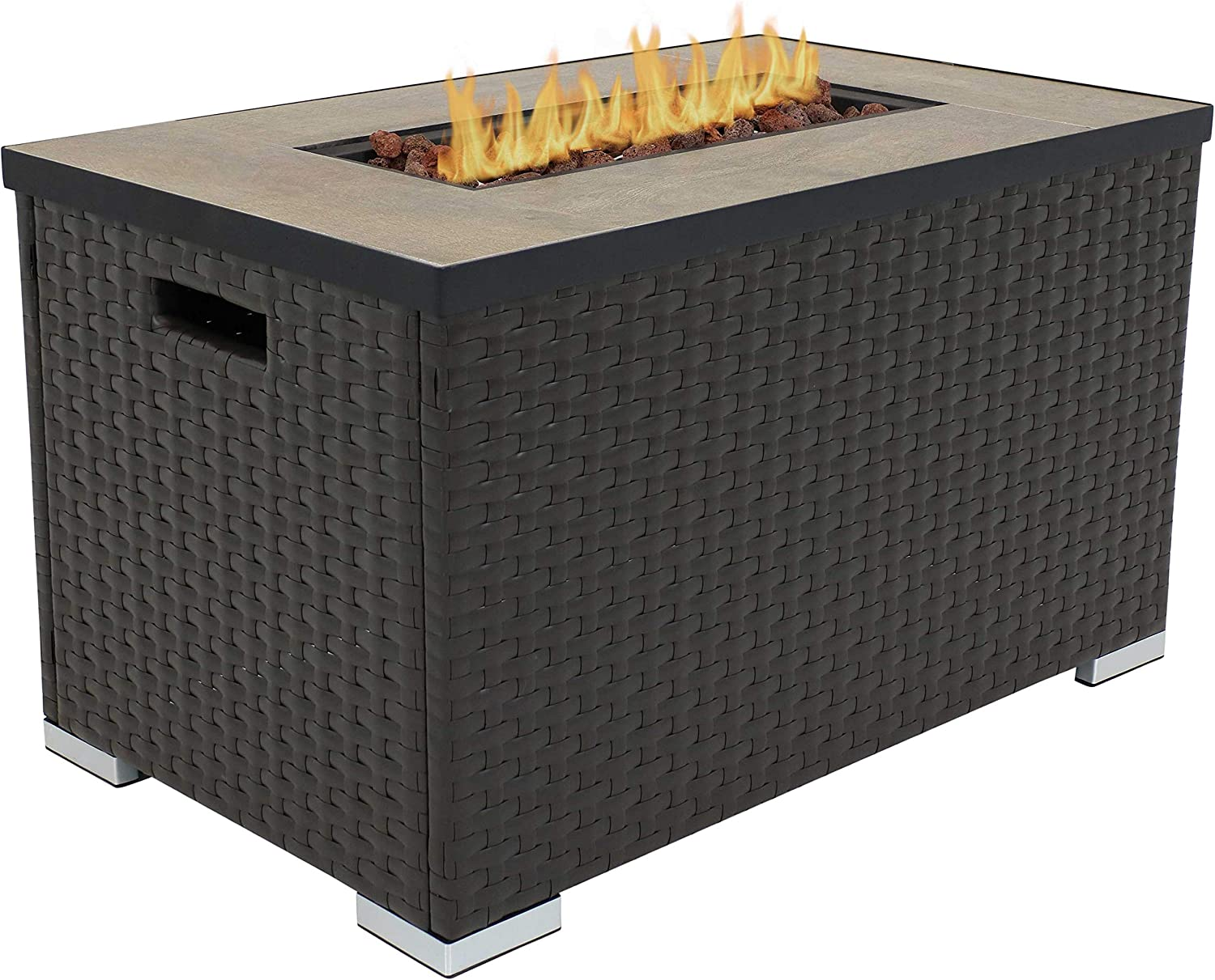 32-Inch Ideal for Yard Patio or Garden Sunnydaze Tile Top Resin Wicker Propane Gas Fire Pit Coffee Table with Stainless Steel Burner Smokeless Outdoor Gas Fire Table