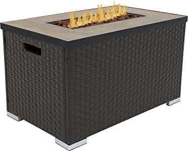 Sunnydaze Tile Top Resin Wicker Propane Gas Fire Pit Coffee Table with Stainless Steel Burner - Smokeless Outdoor Gas Fire Table - Ideal for Yard, Patio or Garden - 32-Inch