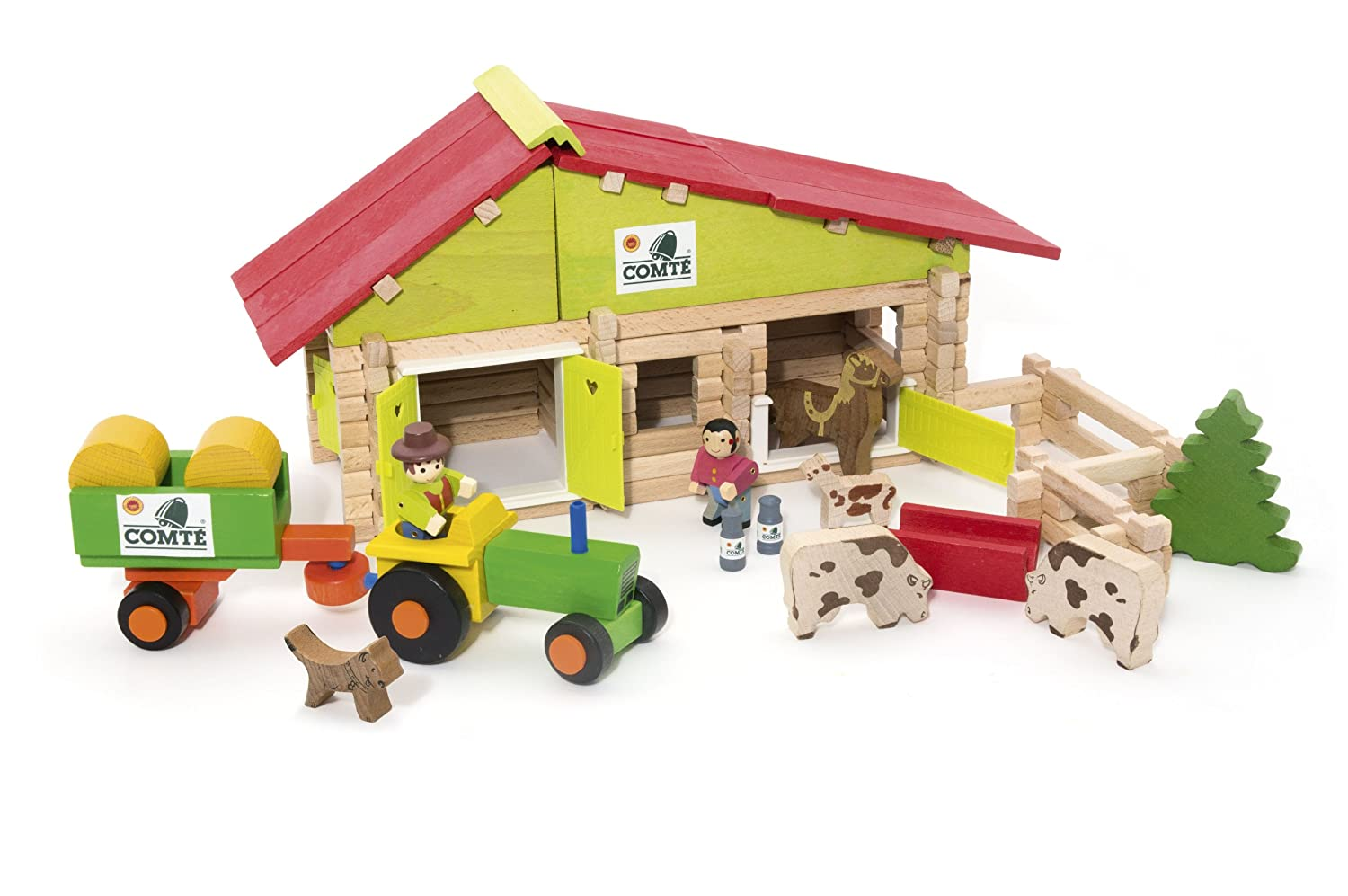 JEUJURA J8053 140 Pieces Comte Barn with Tractor, Farmers and Animals, Multi-Color