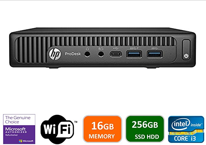 Newest HP 600 G2 Micro Computer Mini Tower PC (Intel Quad Core i3-6100T, 16GB DDR4 Ram, 256GB Solid State SSD, WIFI, VGA, USB 3.0) Win 10 Pro (Renewed)