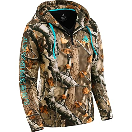 e438216578a32 Legendary Whitetails Ladies Power Quarter Zip Hoodie Big Game Field Camo  X-Small