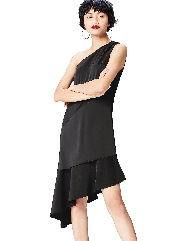 TALLA S. Marca Amazon - find. Vestido Midi con un Hombro al Aire Mujer