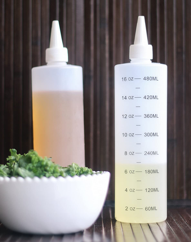 claire Plastique 16-Oz Tovlaqazw Lot de 4 bouteilles /à presser en plastique avec bouchon /étanche Blanc