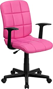 Flash Furniture Mid-Back Pink Quilted Vinyl Swivel Task Office Chair with Arms
