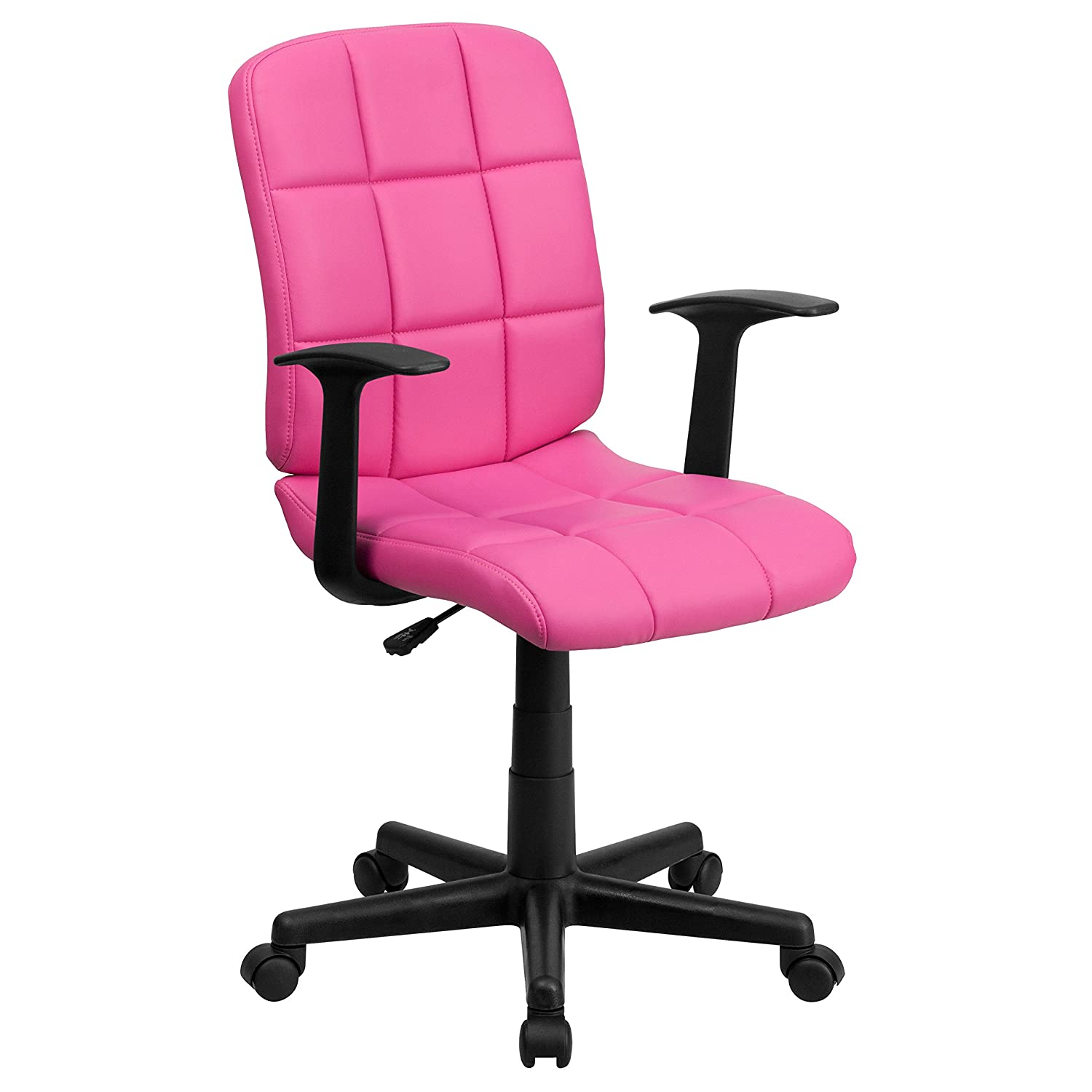 Flash Furniture Mid-Back Pink Quilted Vinyl Swivel Task Office Chair with Arms –