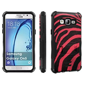Galaxy [On5] Tough Case [Skinguardz] [Black/Black] ShockProof Armor [Kick Stand] - [Red Black Zebra] for Samsung Galaxy [On5]