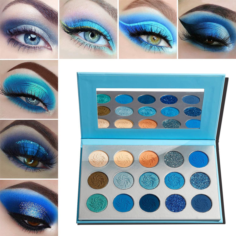 Blue Eyeshadow Palette Makeup,Afflano Pro Matte Glitter Highly Pigmented Waterproof Palette Eyeshadow,Nude Silver Grey Smoky Soft Glam Shimmery Metallic Bright Cute Shiny Girls Vegan Eyeshadow Set