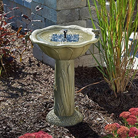 front facing smart solar 20633r01 solar birdbath fountain